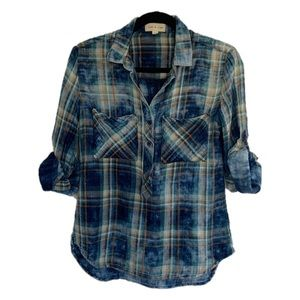 Cloth & Stone XS Distressed Plaid Gauze Top